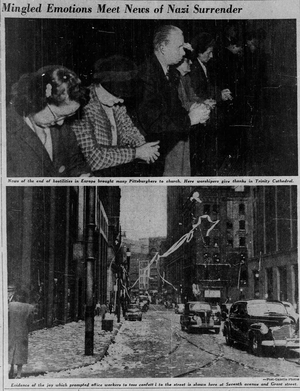 """Mingled emotions meet news of Nazi Surrender,"" Pittsburgh Post-Gazette, May 8, 1945."