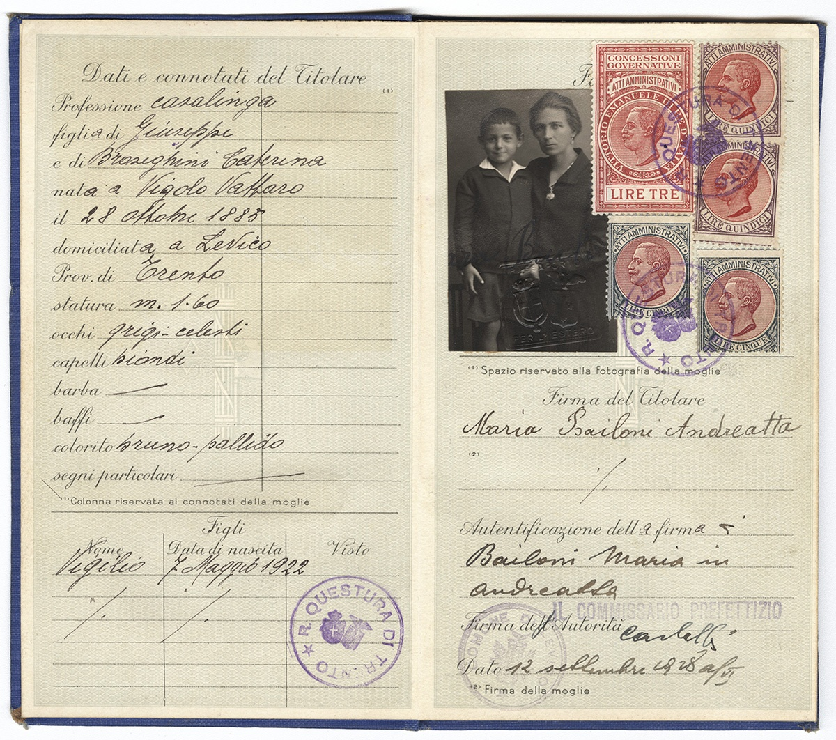 Maria Bailoni's Italian passport, 1928. Gift of Christine Andreatta Neal. Italian American Collection at the Heinz History Center.