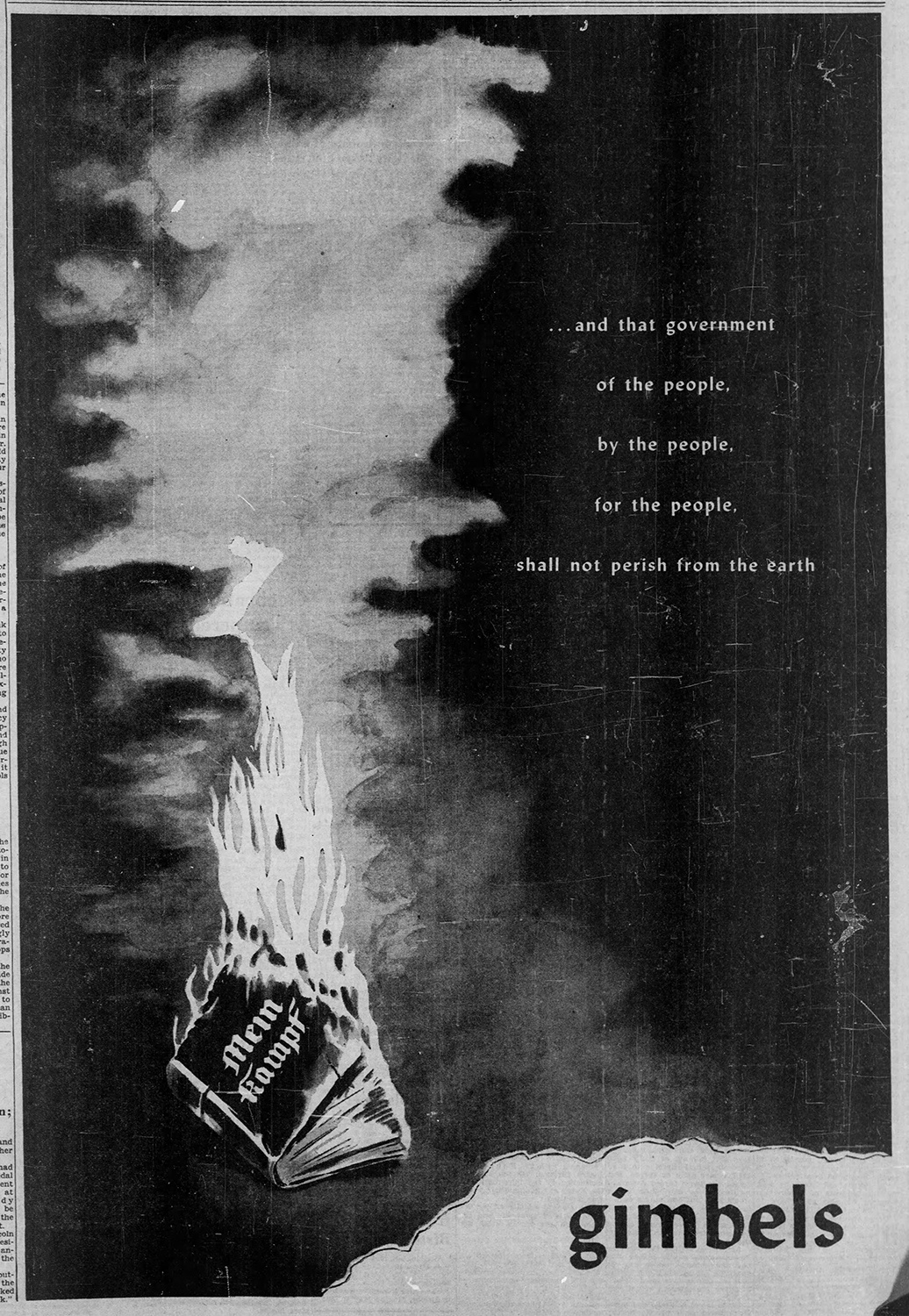 """ . . . and the government of the people, by the people, for the people, shall not perish from the earth,"" Gimbels' advertisement marking V-E Day, Pittsburgh Post-Gazette, May 8 1945."