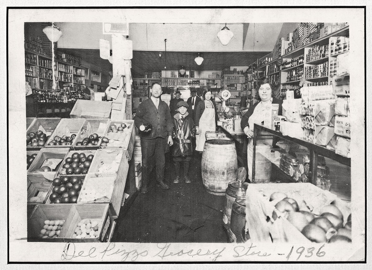 Del Pizzo Grocery Store in East Liberty, 1936. Gift of Marianne Del Pizzo. Italian American Collection at the Heinz History Center.