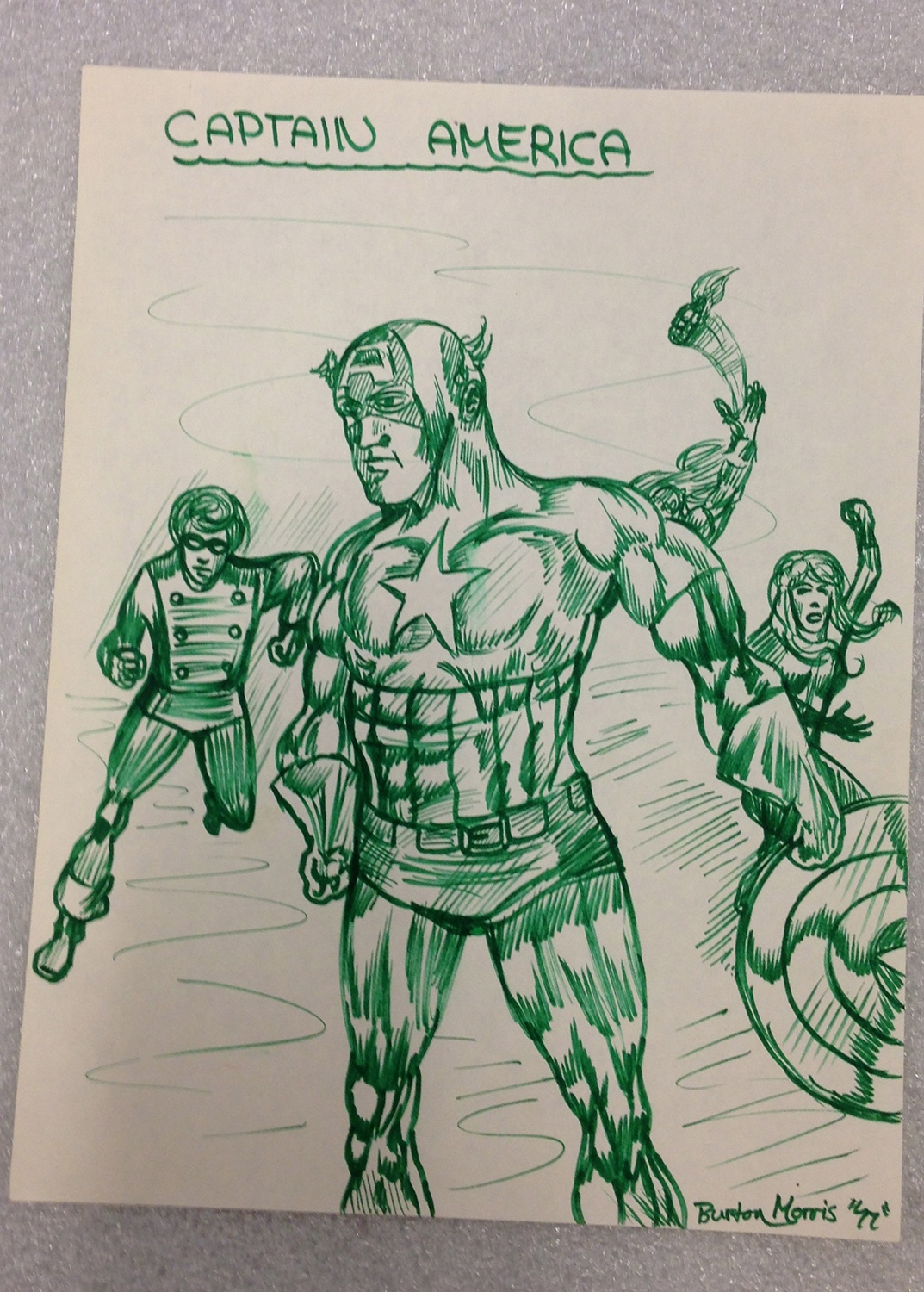 """Captain America"" pen and ink drawing, 1978. Burton Morris Collection."