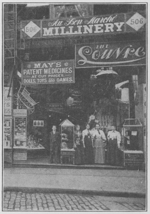 "After his dry goods business went bankrupt during the Panic of 1893, Barney May started a successful drug company from a building at 506 Market St., downtown. From ""The Story of Barney May, Pioneer,"" by George M. P. Baird."