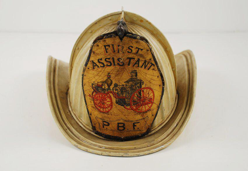 Firefighter's helmet, used by John Steel, c. 1890.
