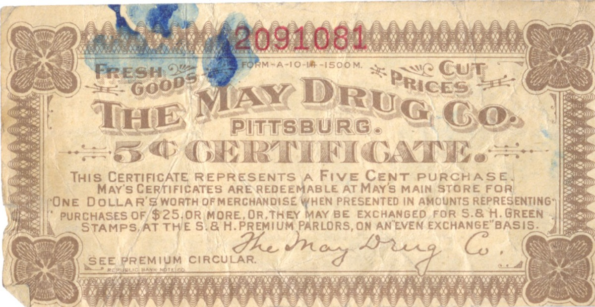 "A 5-cent certificate for the May Drug Company ""profit sharing plan,"" showing the May Building at Fifth and Liberty Avenues, 1928. May Drug Company Coupon, MFF 1255, Rauh Jewish Archives, Detre Library & Archives at the History Center."