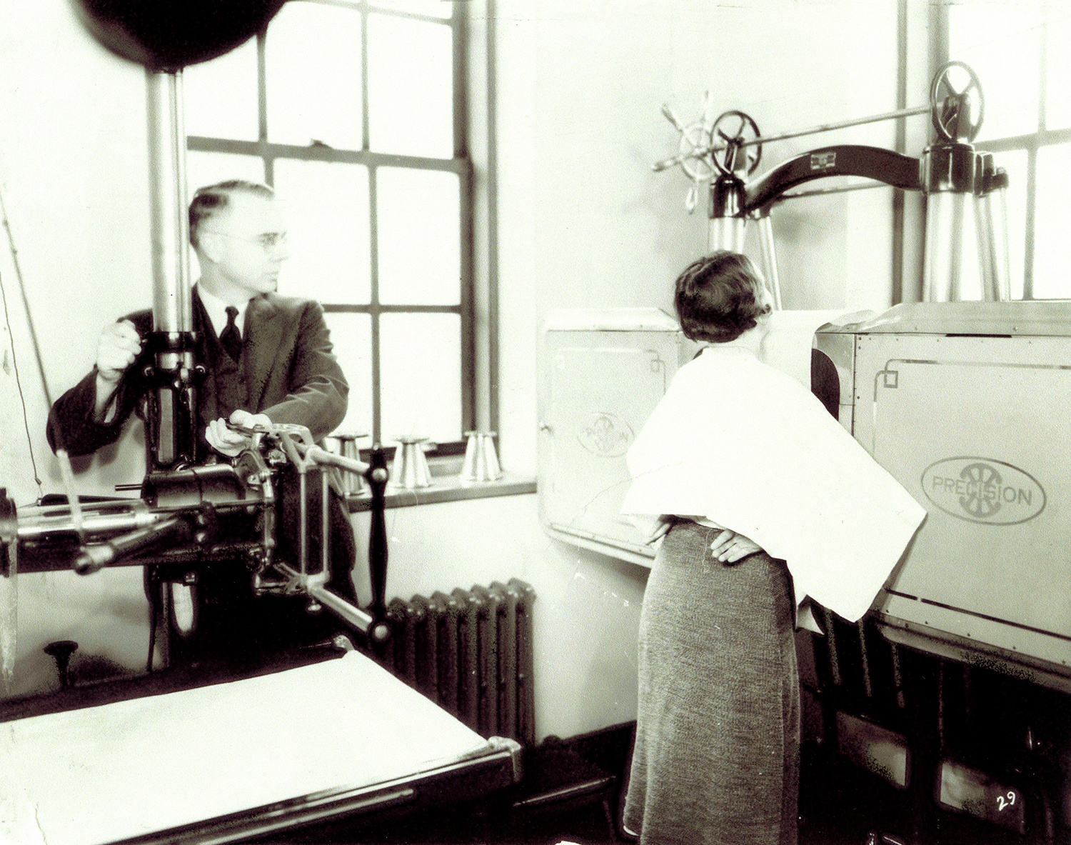 A TB Patient being x-rayed, c. 1935.