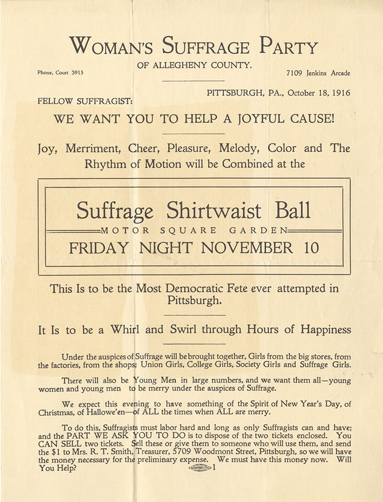 Advertising notice for the Suffrage Shirtwaist Ball 1916.