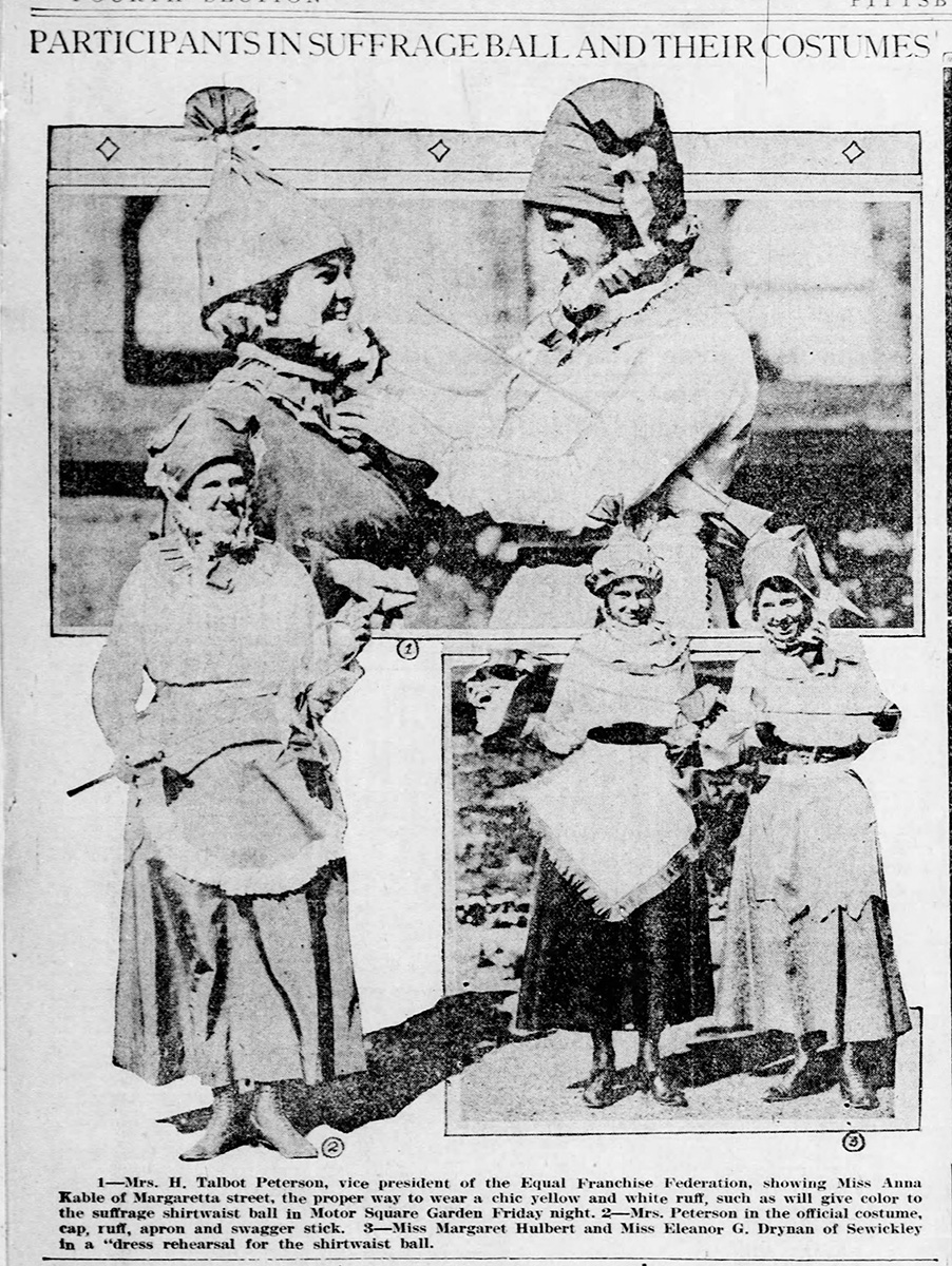 """Participants in Suffrage Ball and their Costumes,"" Pittsburgh Post-Gazette, November 5, 1916."