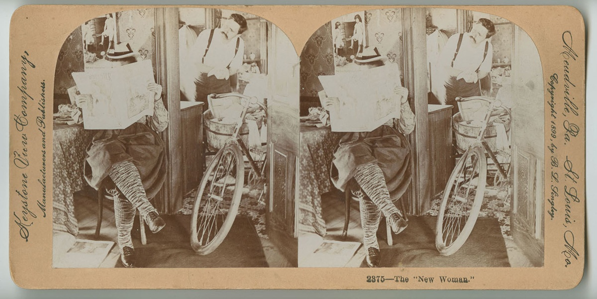 """The New Woman,"" stereoview card, Keystone View Company, Meadville, Pa, c. 1899. Note the bicycle here, which like the shirtwaist, became a symbol of women's growing calls for a more independent life. Courtesy of the Library Company of Philadelphia, Print Department."