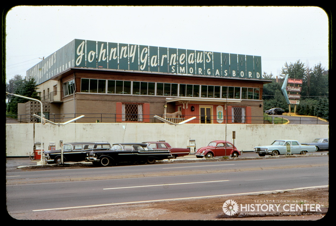 Johnny Garneau's Smorgasbord at 8035 McKnight Rd. in the North Hills, late 1960s. It is now the site of Andre Plaza across from McIntyre Square. Detre Library & Archives at the History Center.