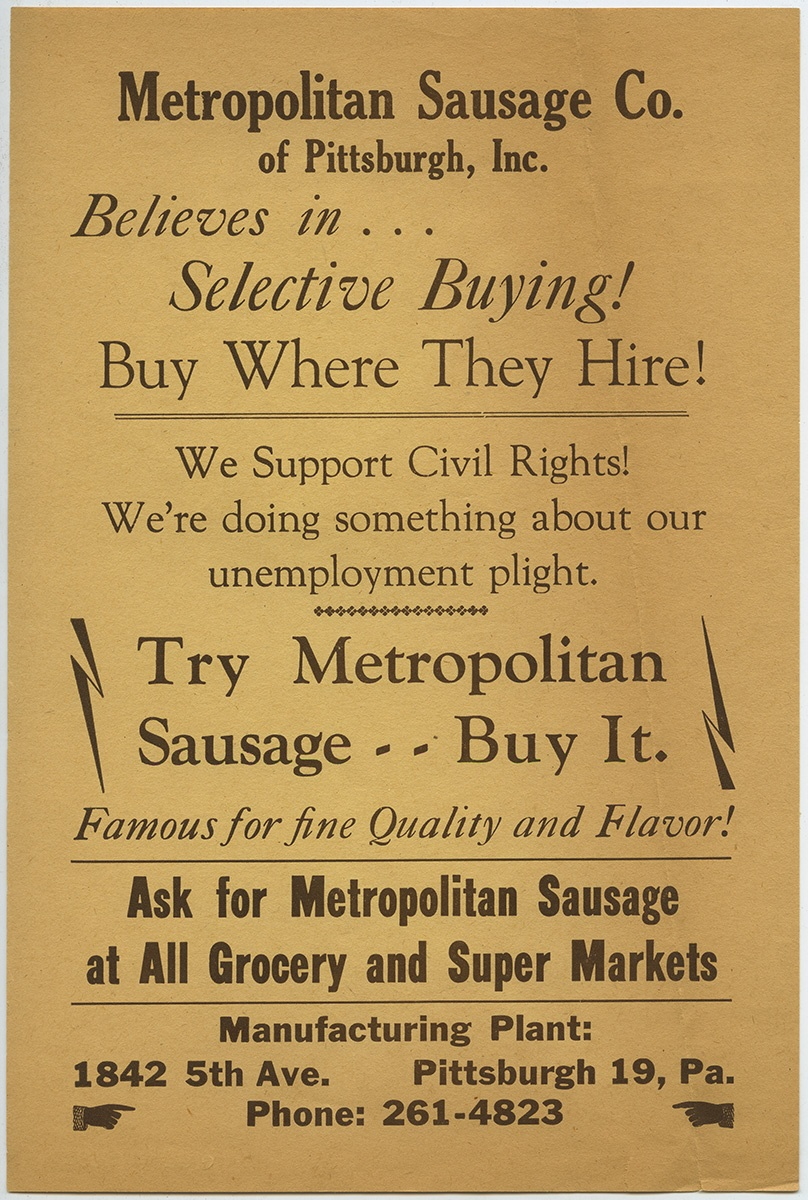 Metropolitan Sausage Company handbill, c. 1965. Maude Y. Hawkins Papers, MSS 171, Detre Library & Archives at the History Center.