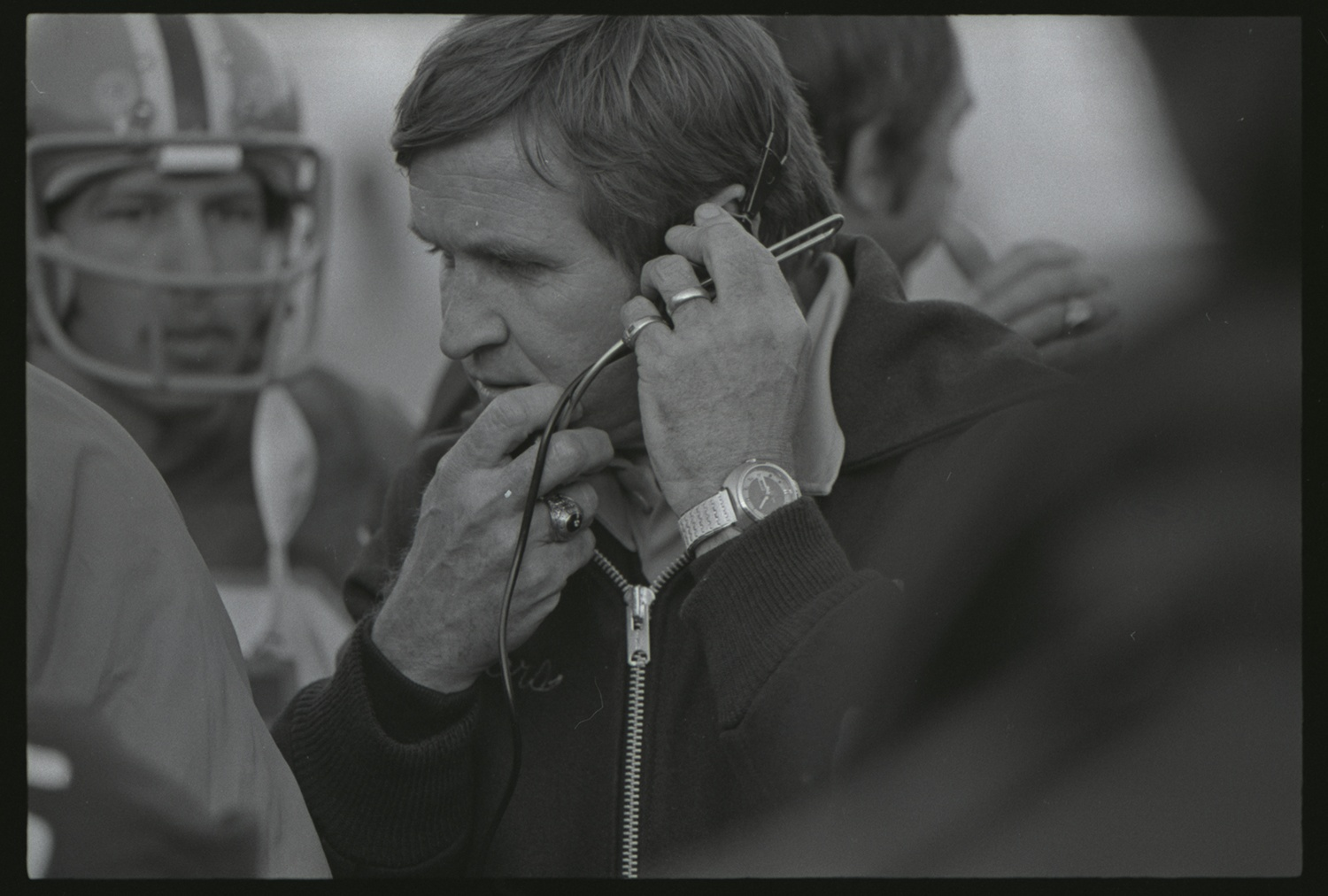 "Pitt Coach Johnny Majors coaches in the ""Backyard Brawl"" rivalry game against West Virginia University on Nov. 13, 1976 at Pitt Stadium. Pitt went on to win the National Championship after posting a 12-0 record in Majors' fourth season as head coach. Gift of Anthony Kambic, PSS 30, Detre Library & Archives at the History Center."