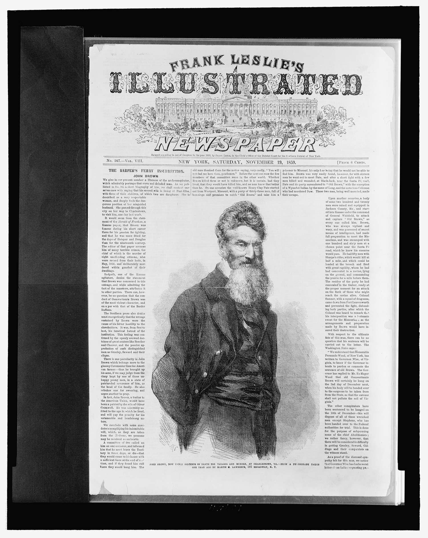 Engraving of John Brown as he appeared on Frank Leslie's Illustrated Newspaper, November 19, 1859. Courtesy of the Library of Congress, Prints and Photographs Division.
