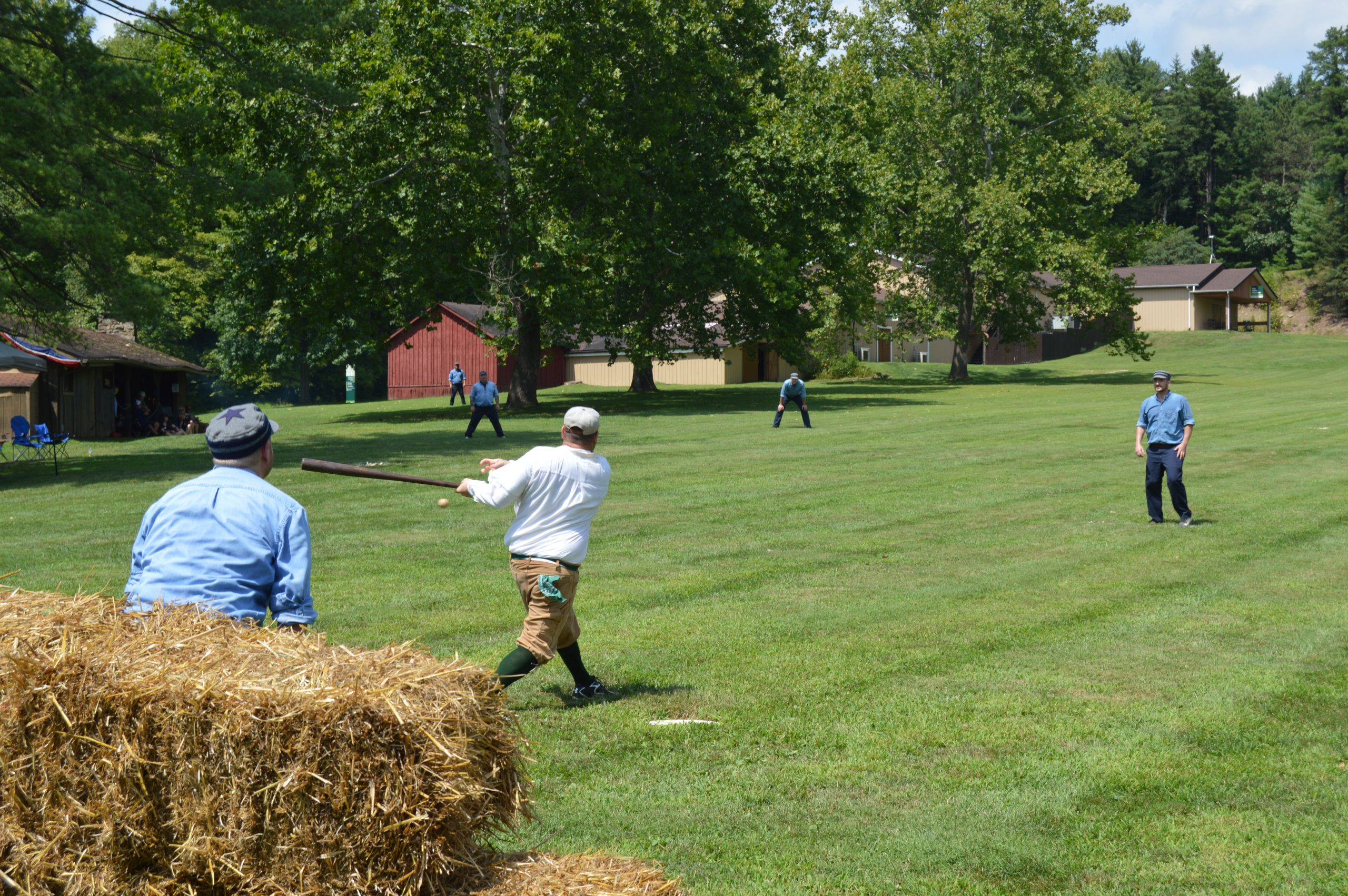 A game of vintage base ball is played at Meadowcroft Rockshelter and Historic Village.
