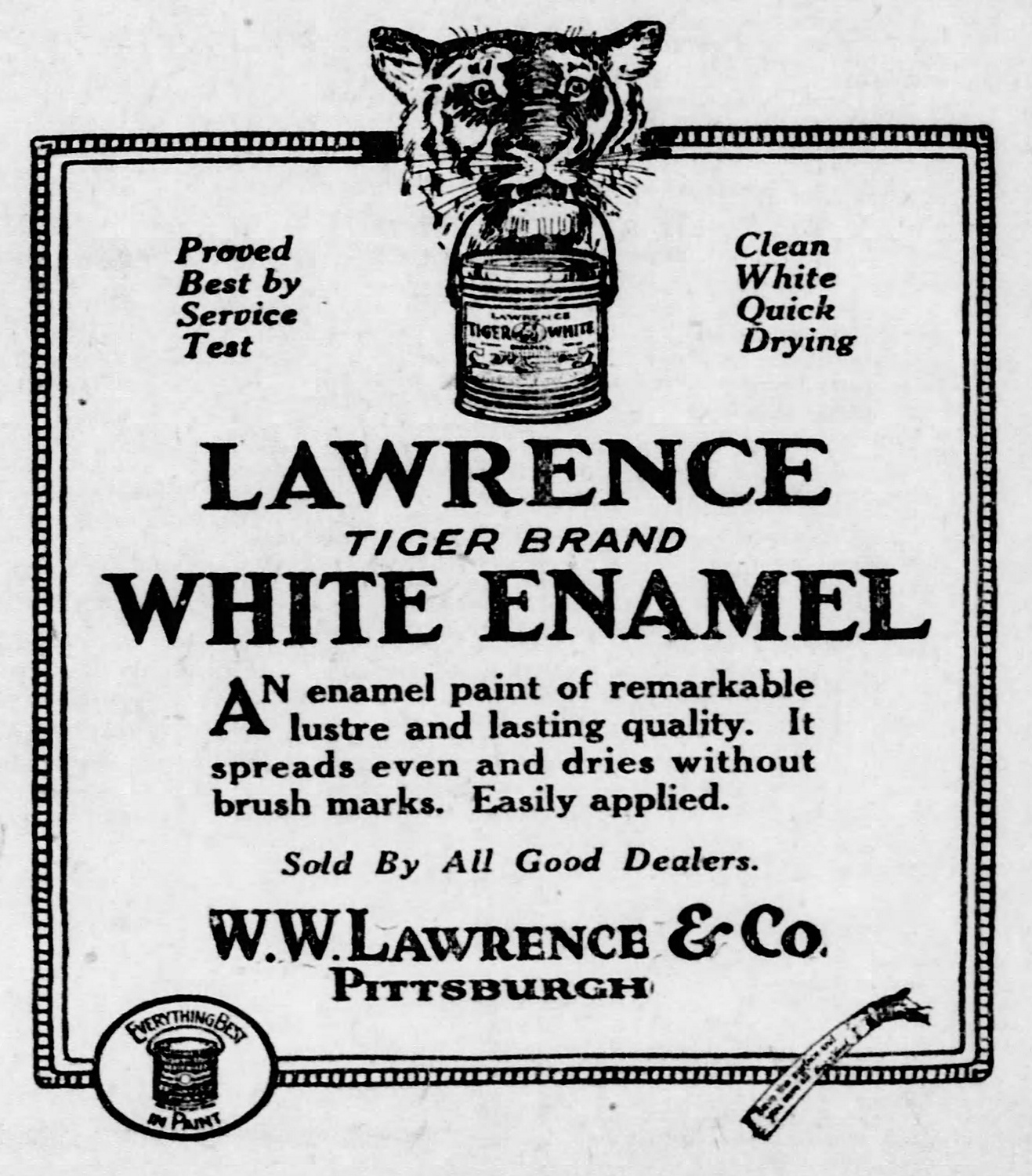 Ad using tiger imagery to reinforce the toughness of Lawrence enamel paint. Pittsburgh Post-Gazette, June 26, 1923.