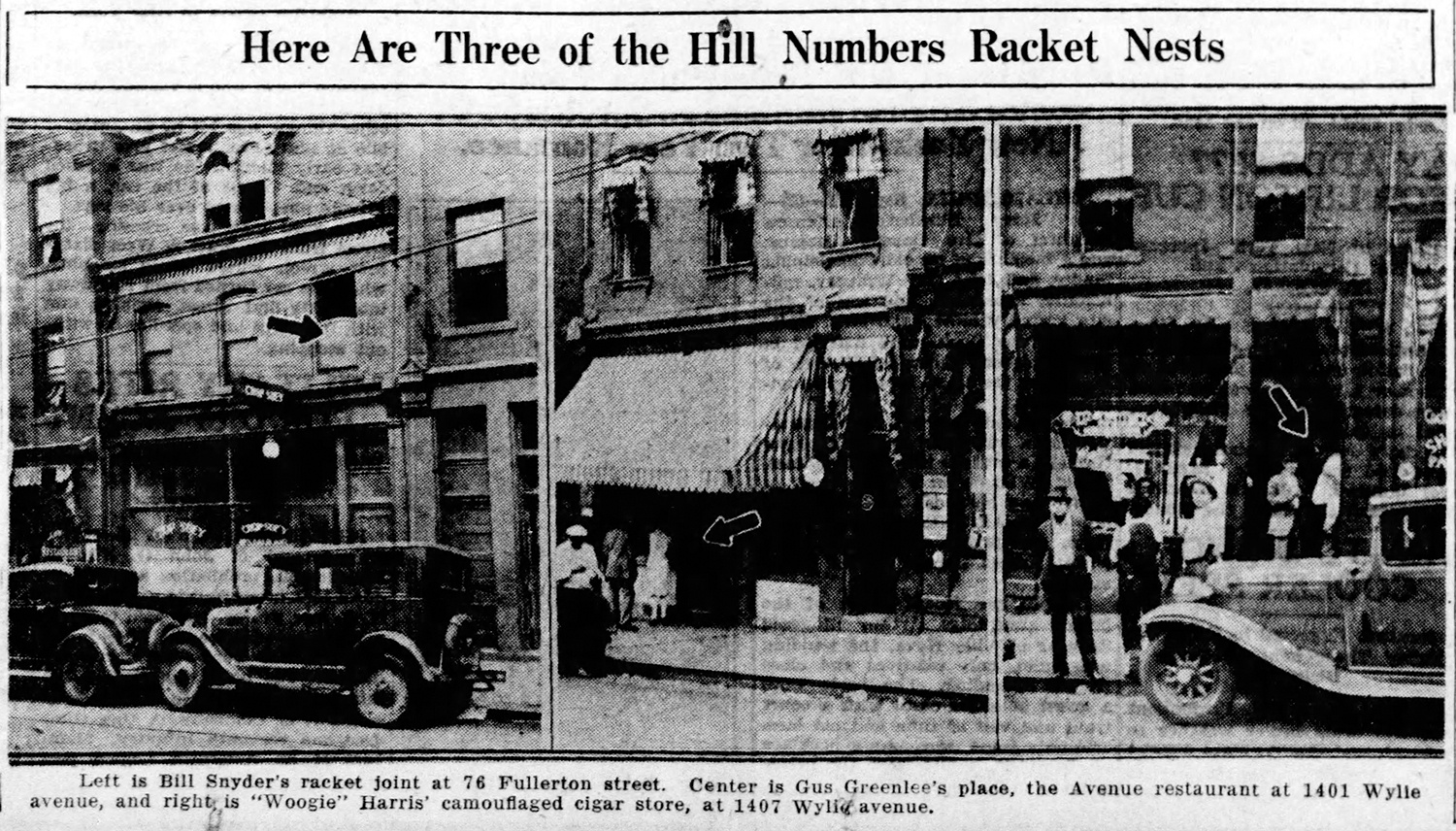 Hill District numbers racket sites. Bill Snyder's location remained active while he was living in the Upper Hill bungalow. Pittsburgh Post-Gazette, Sept. 26, 1930.