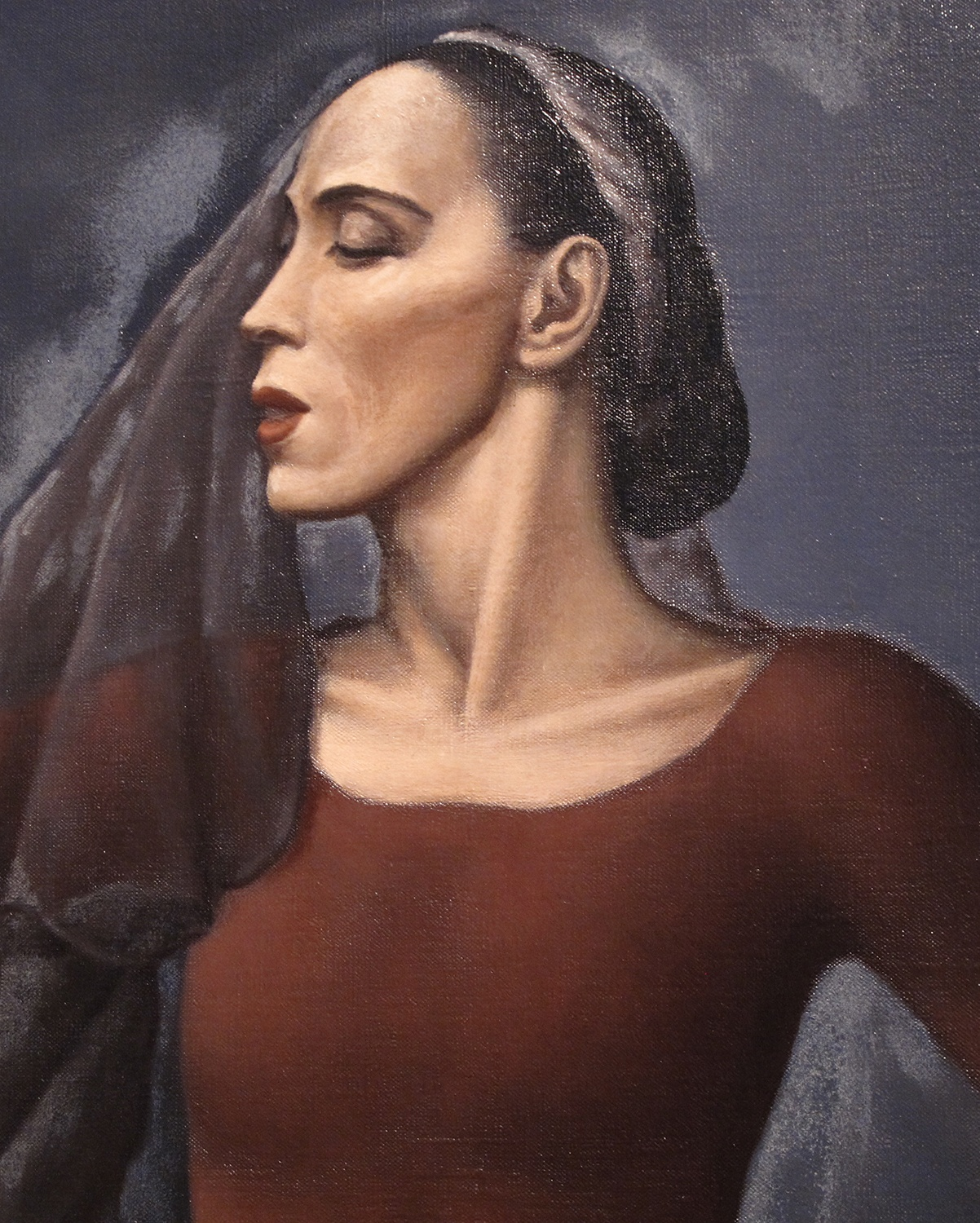 Detail, Martha Graham, by Paul Meltsner, oil on canvas, 1938. Courtesy of the National Portrait Gallery, Smithsonian Institution.