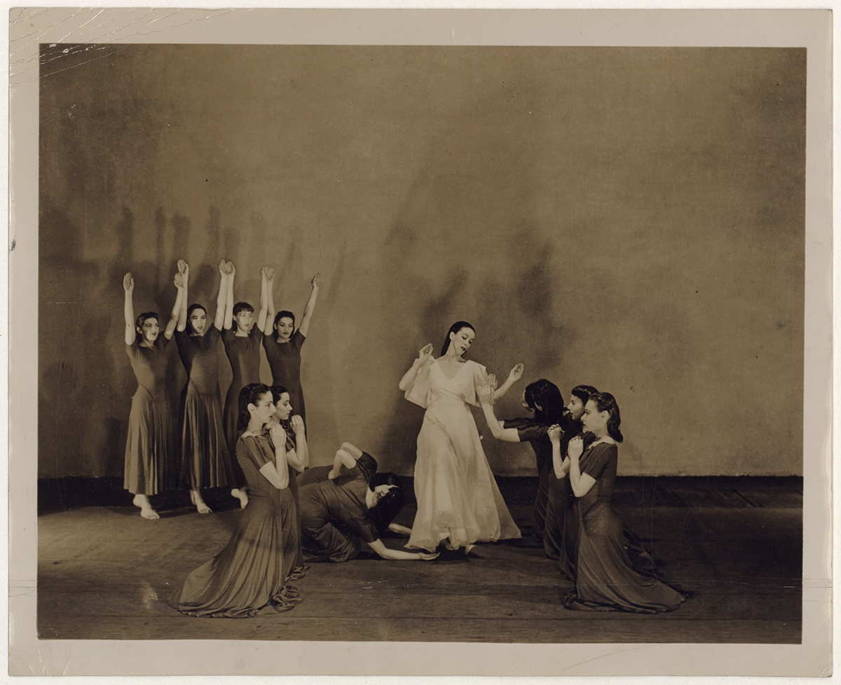 "Martha Graham and company performing ""Primitive mysteries, No. 7,"" c. 1940. This was one of the three dances included in the 1937 Pittsburgh recital. Courtesy of the Library of Congress, Prints and Photographs Division."