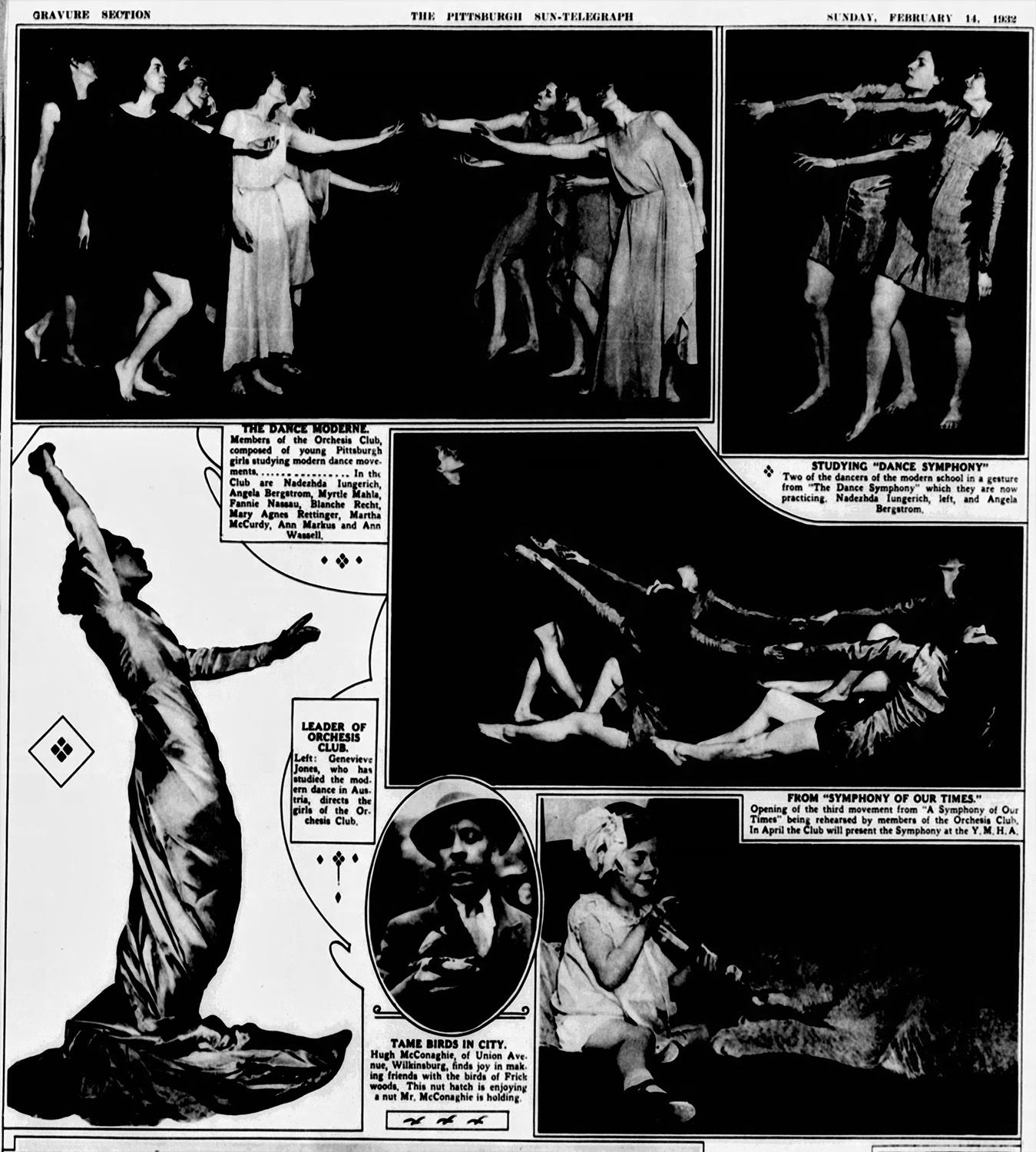 This photo spread from 1932 featured multiple images of the members of Orchesis practicing modern dance. Pittsburgh Sun-Telegraph, February 14, 1932.