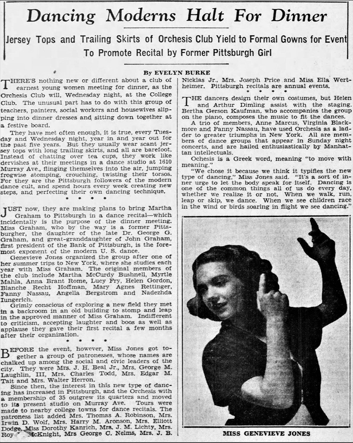 Press photo of Pittsburgh's Genevieve Jones, who became known as the woman who introduced Pittsburgh to modern dance. The Pittsburgh Press, October 11, 1936.