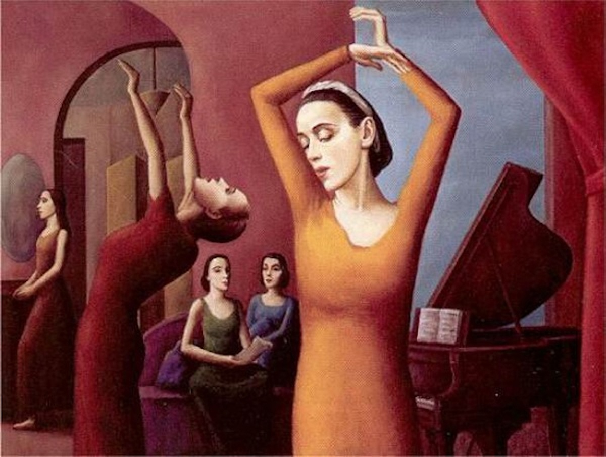 Paul Meltsner, Martha Graham Dance Class, oil on canvas, about 1939. Courtesy of the Wichita Art Museum
