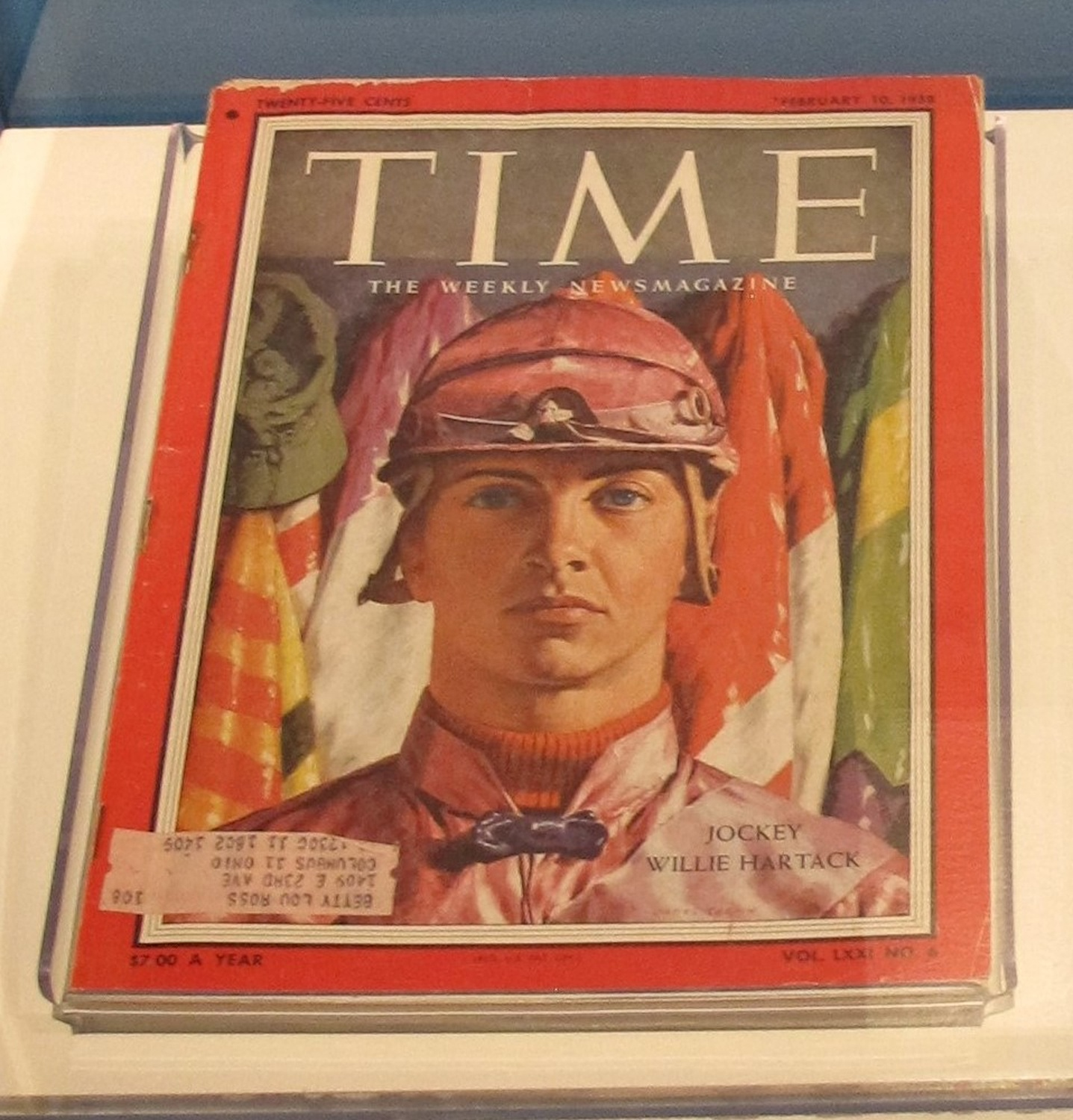 Time magazine with Bill Hartack on the cover, February 10, 1958. Currently on display in Smithsonian's Portraits of Pittsburgh: Works from the National Portrait Gallery, August 11, 2020.