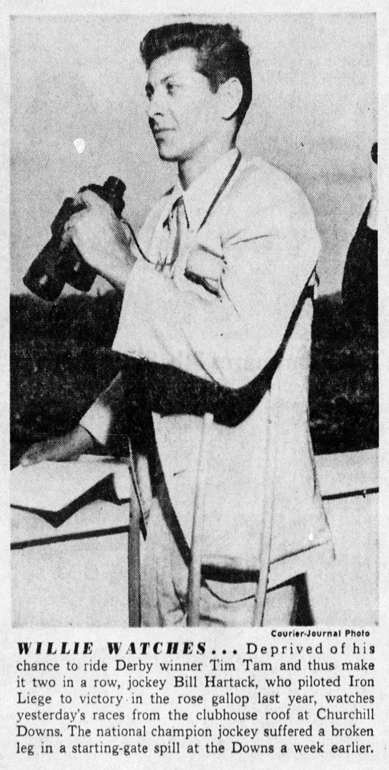 """""""Willie Watches."""" Bill Hartack views the Kentucky Derby from the roof of Churchill Downs. From The Courier Journal Sun (Louisville, KY), May 4, 1958."""