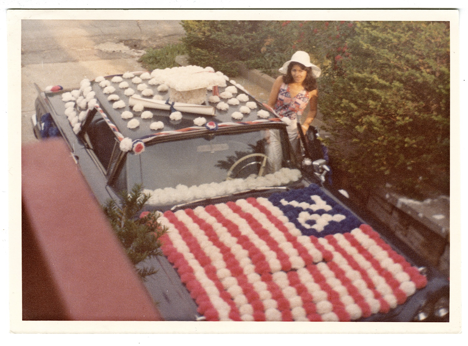 By the 1970s, Italian Americans had not only assimilated into American society, but embraced their hybrid identity in displays of pride for Italy and America. The Pasquale family of Beechview decorated their car for the American Bicentennial, 1976. Gift of Angela Pasquale