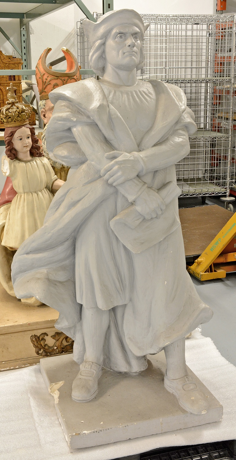 Frank Vittor sculpted this model of Christopher Columbus for the creation of the monument, which was carved at Pittsburgh's Donatelli Granite Works. Vittor, a famed artist from Milan, was commissioned by the Sons of Columbus to create the explorer's likeness. Gift of Carla Scatena