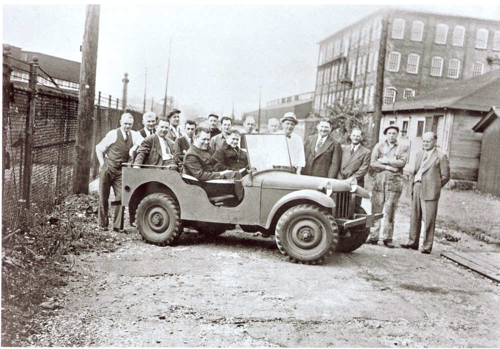 Workers with Gramps outside of the Bantam Car Company, Sept. 21, 1940. Ralph Turner is in the back row, fifth from the left behind the driver.