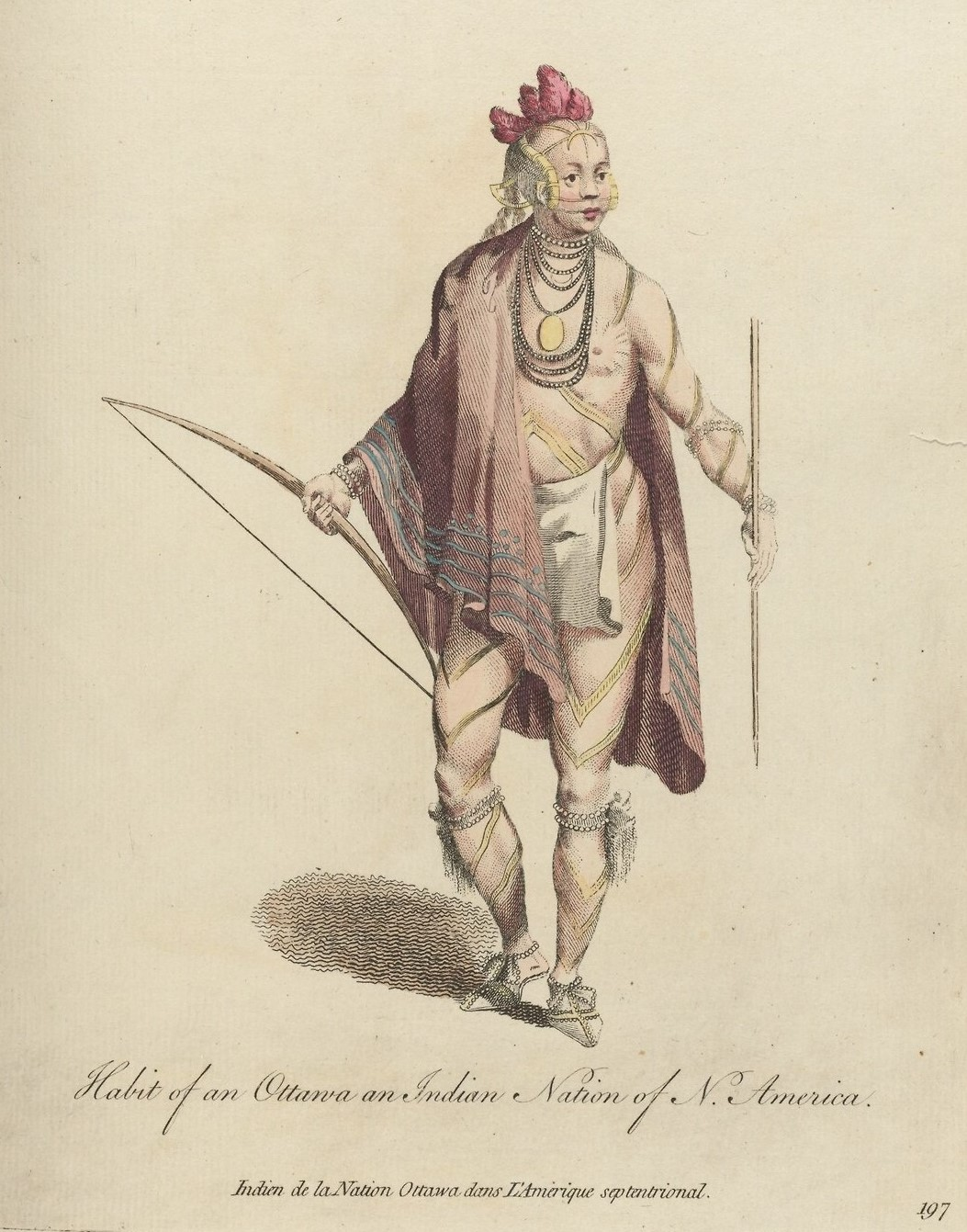 """""""Habit of an Ottawa an Indian Nation of N. America"""". From A collection of the dresses of different nations, antient and modern, particularly old English dresses, Vol 4: Plate 197. HEW 14.7.6, Houghton Library, Harvard University."""