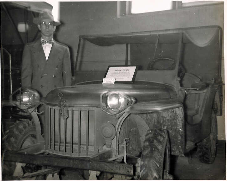Ralph Turner with the Jeep on display at the Smithsonian in Washington, D.C. in 1954.