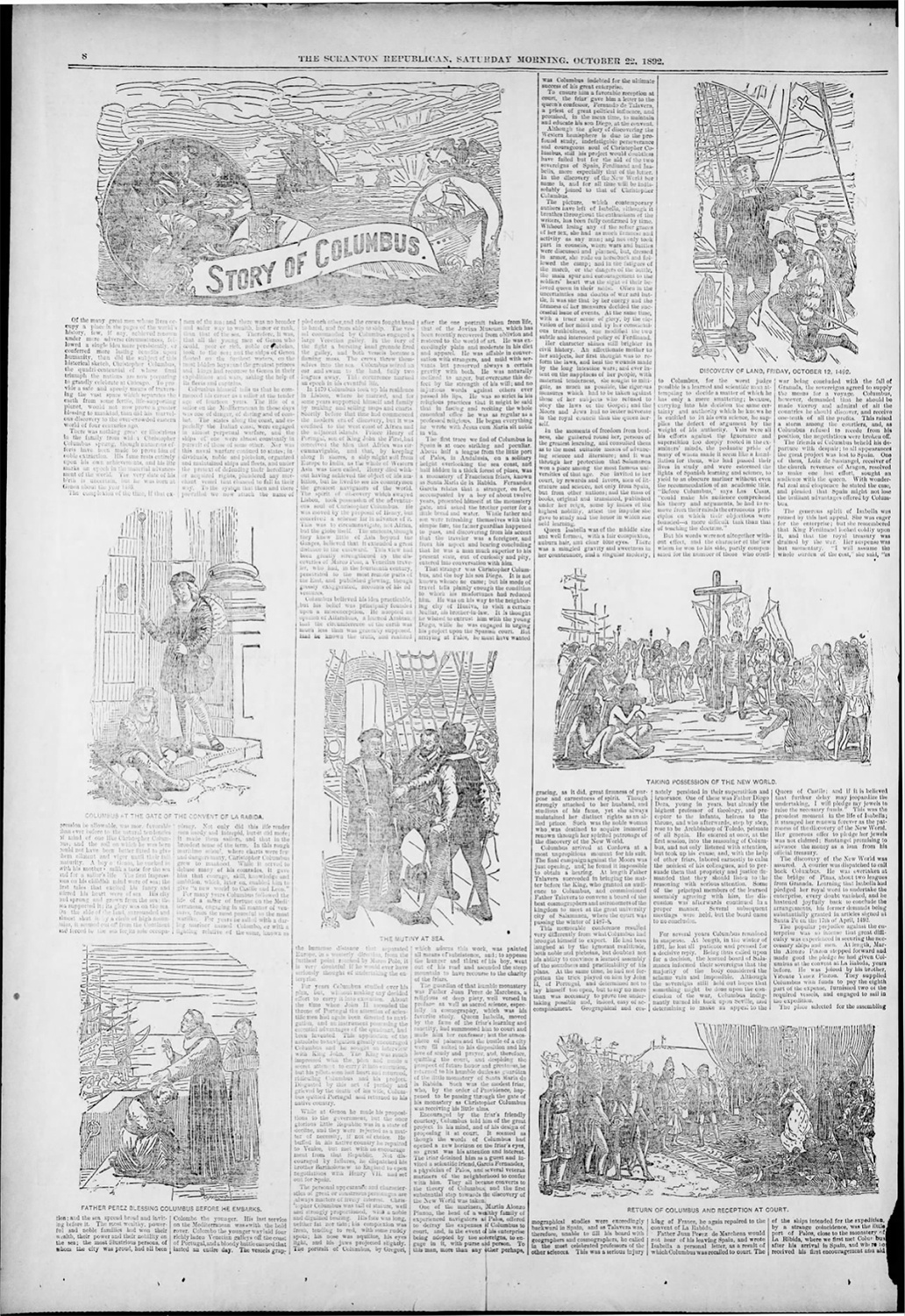 """Newspapers published the """"Story of Columbus"""" as a part of the nation's celebration of Discoverer's Day in October 1892. This page from The Scranton Republican is typical of what paper ran at the time, and these accounts became the basis for how we once taught the history of Columbus in public schools."""