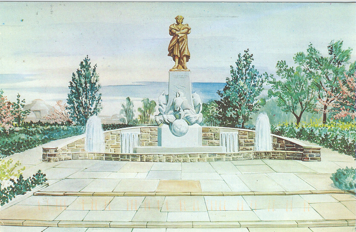 At the time of its dedication in 1958, Pittsburgh's Columbus monument was the second largest in the country. Records in the collection show that the site for the statue in Schenley Park was secured in 1955, though community conversations around the project had been going on for decades. Gift of Joseph D'Andrea
