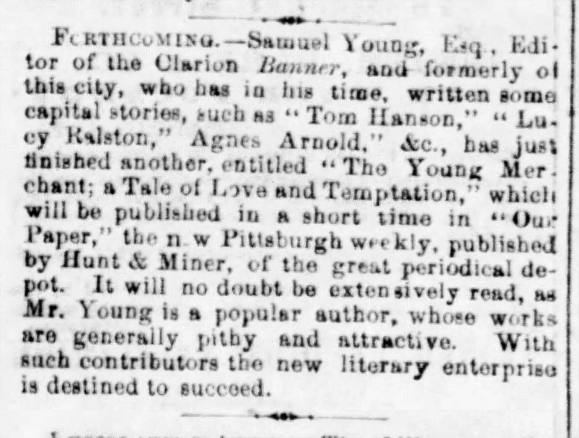 Newspaper notice of an upcoming story by Sam Young, 1861. Pittsburgh Daily Post, March 30, 1861.