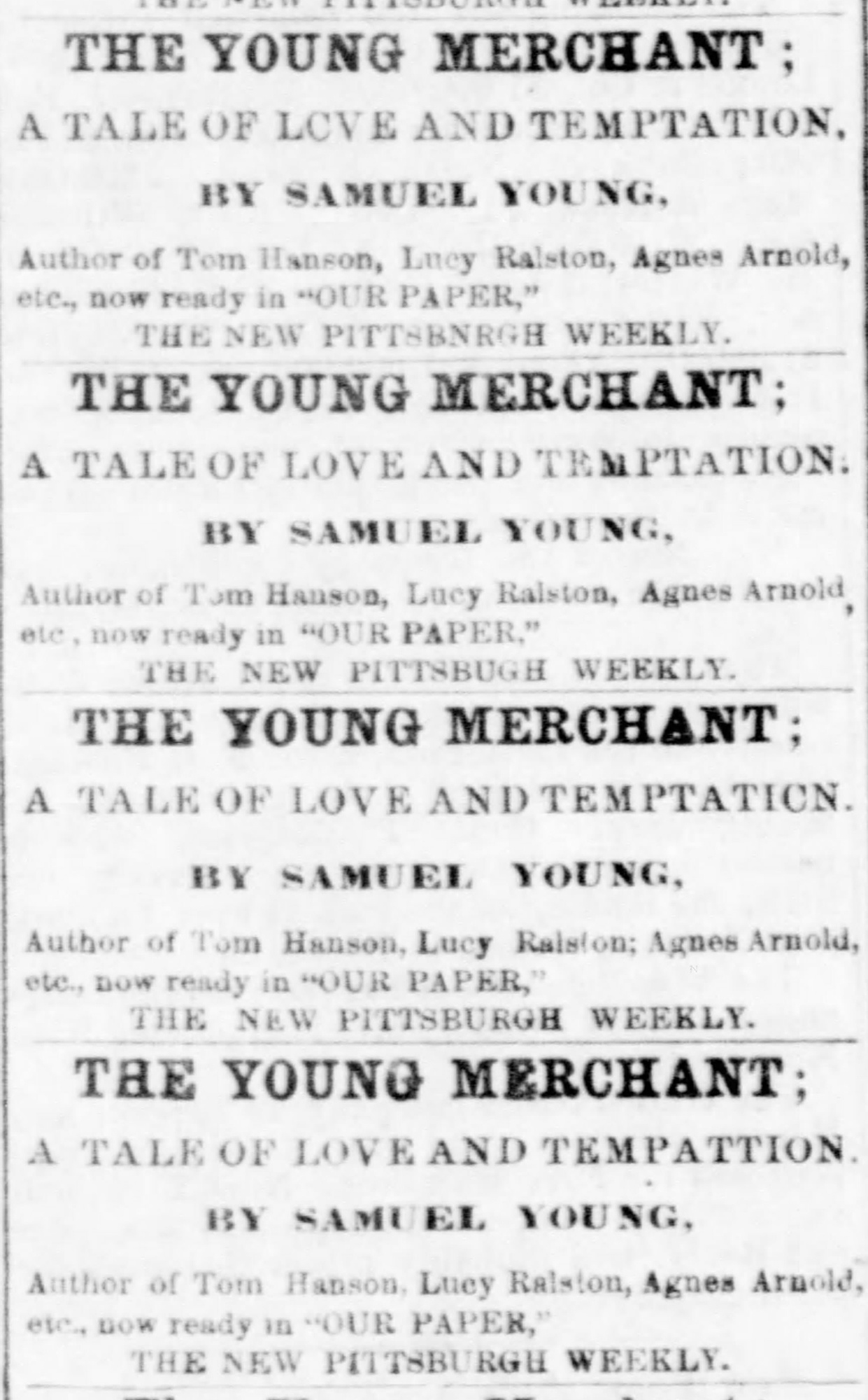 Column announcement of more Sam Young stories, 1861. Pittsburgh Daily Post, April 4, 1861.