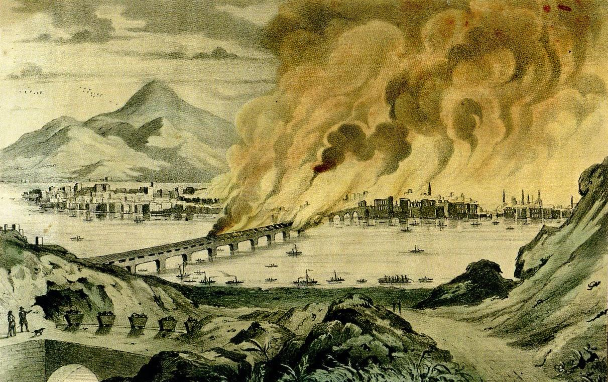 "J. Baillie, ""Great Conflagration at Pittsburgh, Pa., April 10, 1845,"" lithograph, 1845. Many artists published images of the disaster at Pittsburgh, focusing on the dramatic moment when the Smithfield Street Bridge went up in flames. Creative Commons License / Public Domain."