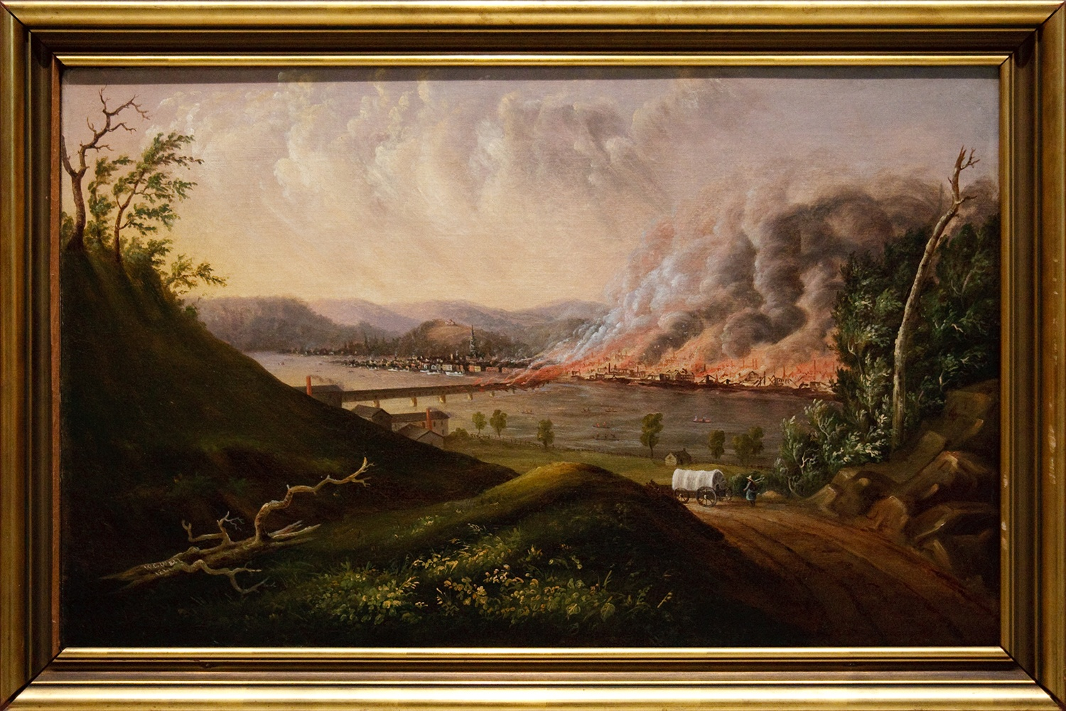 William Coventry Wall, View of the Great Fire of Pittsburgh, oil on canvas, 1846. Courtesy of Carnegie Museum of Art via a Creative Commons license and Wikipedia Loves Art project.