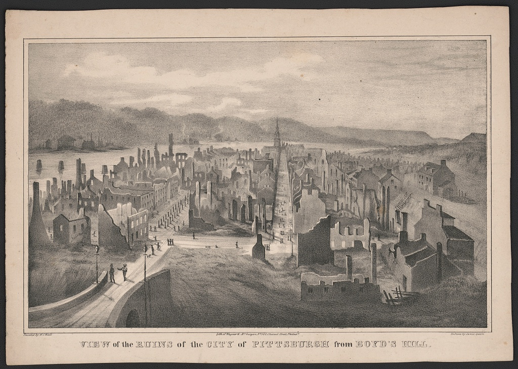 View of the ruins of the city of Pittsburgh from Boyd's Hill, between 1850-1857. Although this print was issued later, it captured the feel of the landscape that may have inspired Sam Young's imagination. Engraving based on the work of W. C. Wall. Courtesy of the Library of Congress, Prints and Photographs Division.