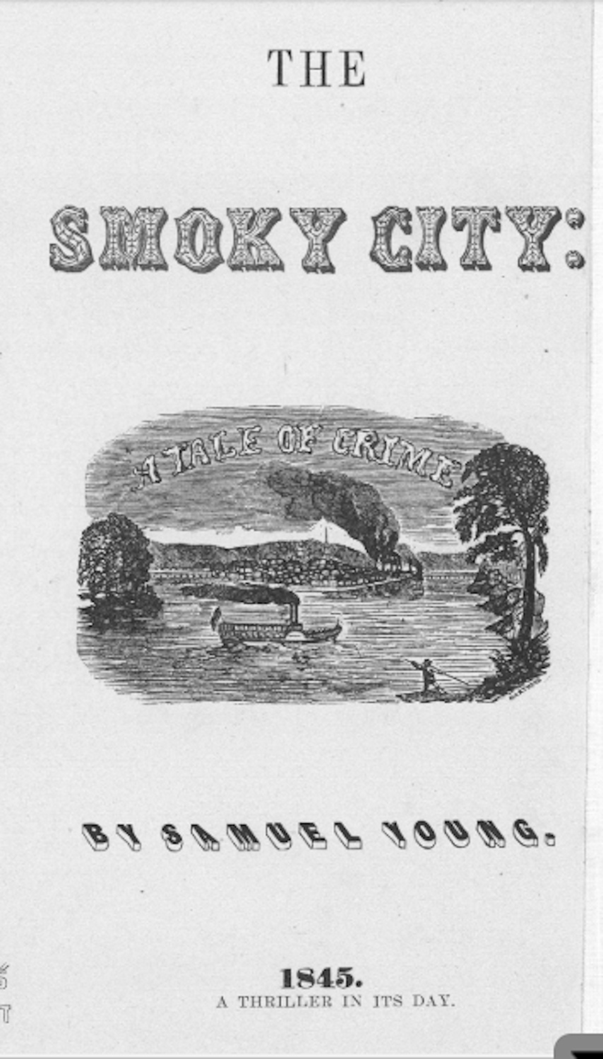 "Cover graphic of ""The Smoky City,"" copy c. 1905. From Flem's Views of Old Pittsburgh, G. T. Fleming, Pittsburgh, PA, 1905."