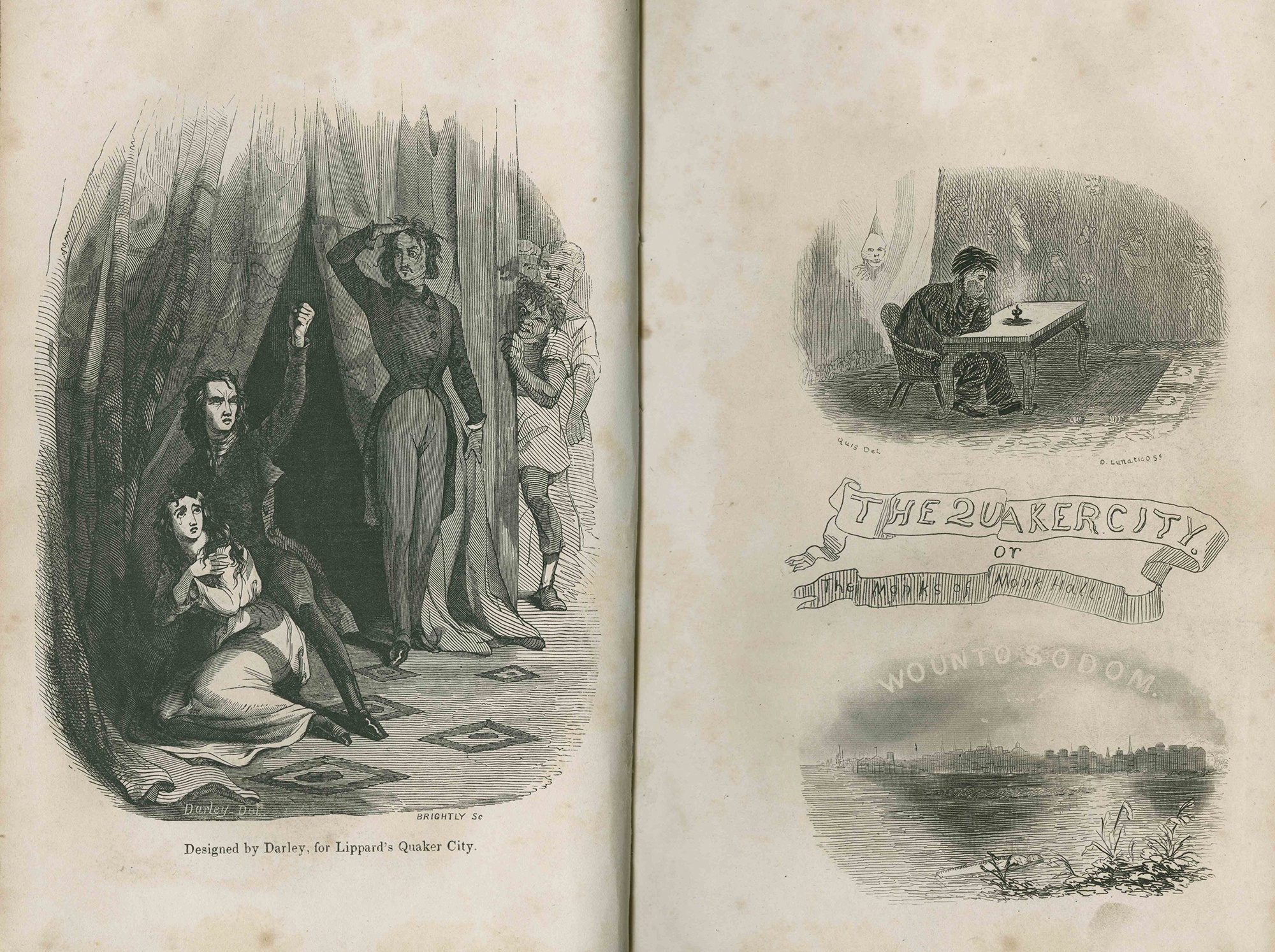 Frontispieces from George Lippard's The Quaker City, or The Monks of Monk Hall, Philadelphia, 1845. Courtesy of the Newberry Library, Digital Collections for the Classroom.