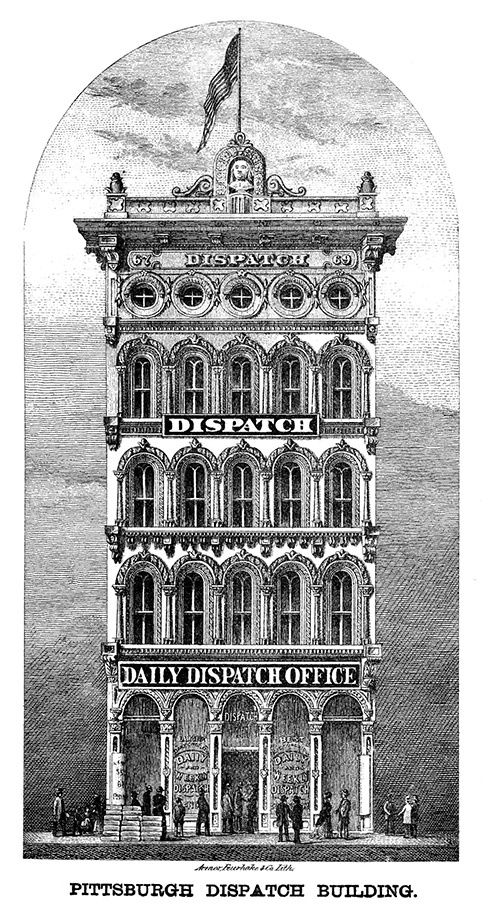 A drawing of the Pittsburgh Dispatch Building, which stood on Fifth Avenue near Duquesne University, 1876. Courtesy of Wikimedia Commons.