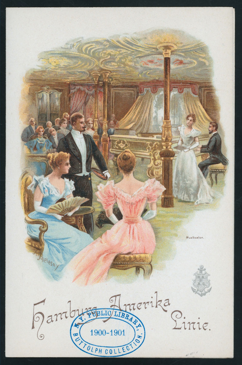 The dining room on the Augusta Victoria depicted on a menu, Jan. 1900. Courtesy of the New York Public Library.
