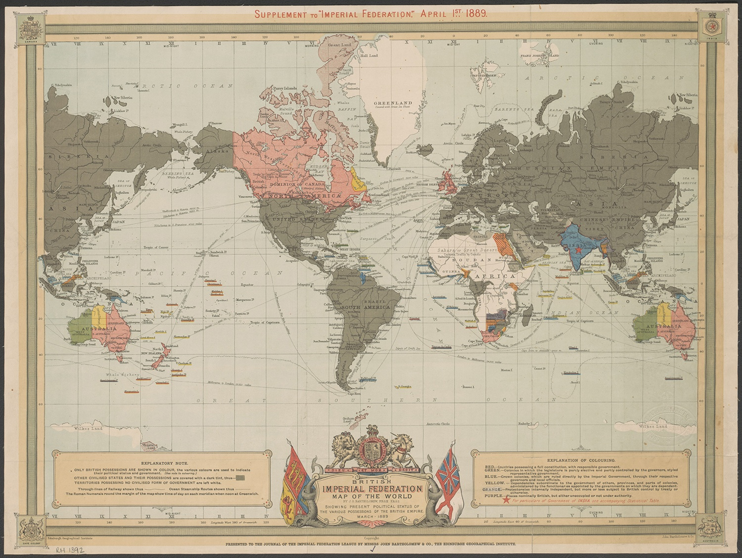 Map of the British Empire, 1889. Courtesy of Wikimedia Commons.