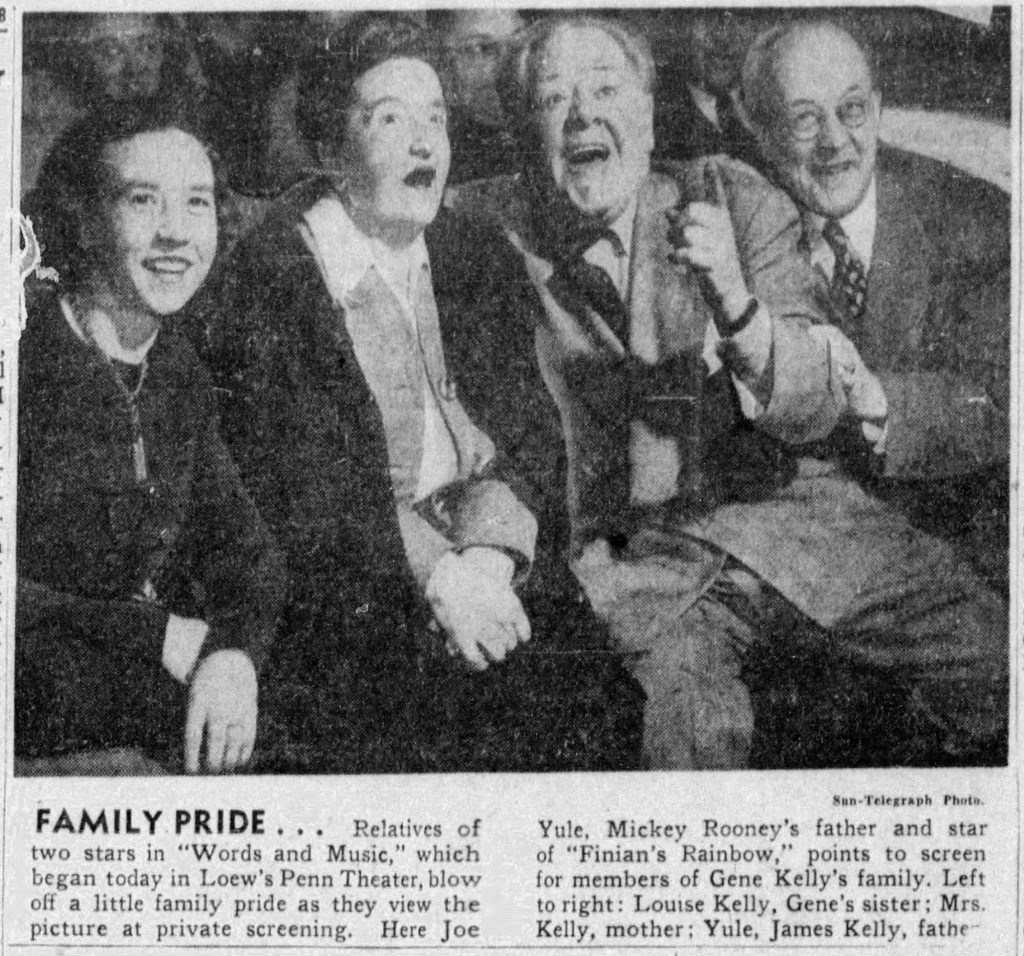 """""""Family Pride,"""" news clipping, Pittsburgh Sun-Telegraph, December 31, 1948. This news photo captured the reactions of Gene Kelly's family as they sat in the Loew's Penn Theater and watched the film Words and Music with Joe Yule, father of Mickey Rooney, 1948."""