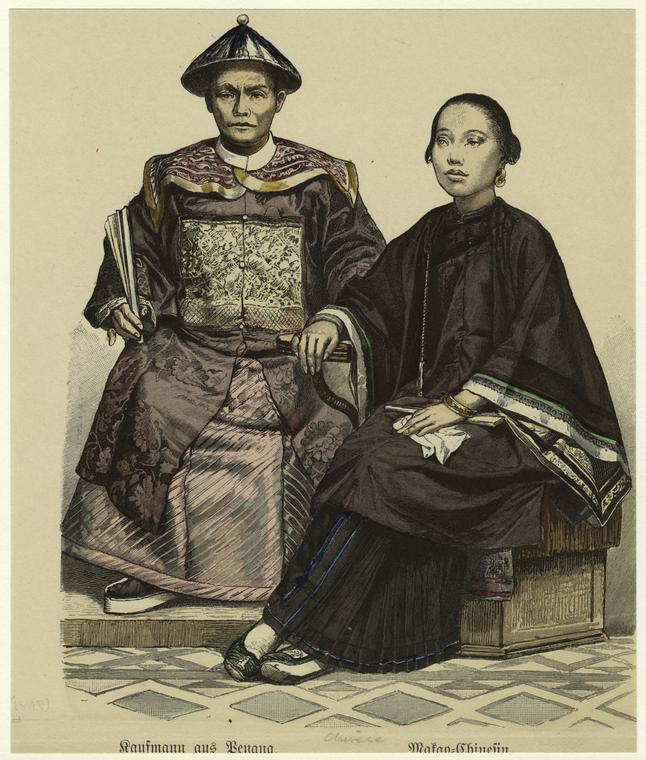 Drawing of a Chinese couple on Penang, 1848. Courtesy of the New York Public Library.