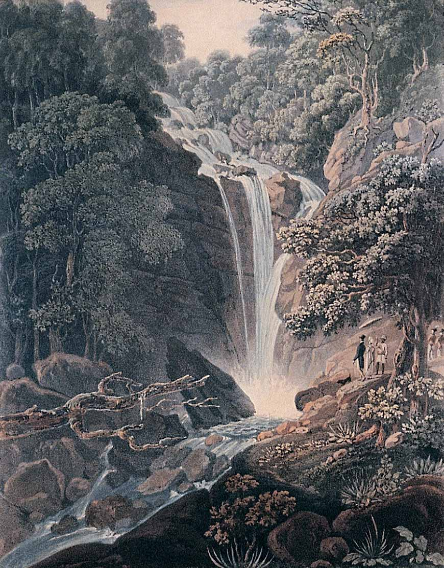 Painting of the waterfall on Penang, 1818. Botanic gardens were built above this waterfall. Courtesy of Wikimedia Commons.