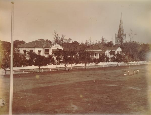 Hotel de l'Europe with St. Andrew's Cathedral in the right background, c. 1880. In 1889, St. Andrew's was the cathedral church of the Anglican Diocese of Labuan, Sarawak, and Singapore. It is now a Singaporean national monument. Courtesy of Leiden University Libraries.