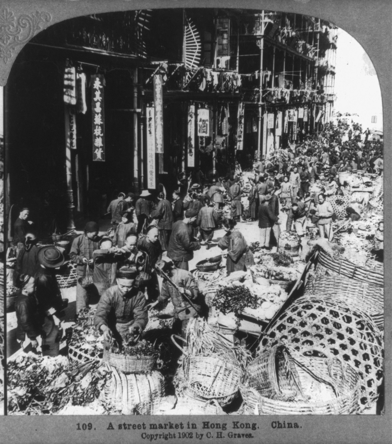 Street market in Hong Kong, 1902. Courtesy of the Library of Congress.