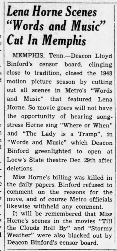Newspaper article announcing that Lena Horne's scenes had been cut from Words and Music, 1948. This was an all too familiar occurrence for Horne, whose frustration soon led her to largely abandon Hollywood. The Weekly Review (Birmingham, AL), January 14, 1949.