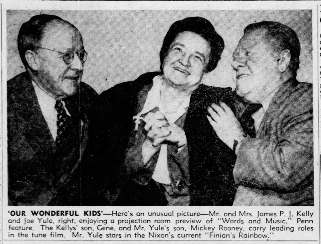 """""""Our Wonderful Kids,"""" news clipping, The Pittsburgh Press, December 31, 1948. News photo showing Gene Kelly's parents along with Joe Yule, at a special screening of Words and Music, 1948. Perry Como's mother was also invited to the preview. It is not clear whether she attended the event or why she was excluded from the press photos."""